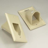 1-Gang Recessed Low Voltage Cable Plate, Ivory