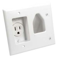 Recessed Low Voltage Cable Plate with Recessed Power, White
