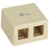 2Port RJ45 Surface Mount Box Ivory (Box only)