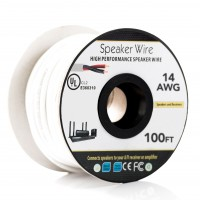 100Ft 14AWG/2C In-wall Speaker Wire, OFC CL2 UL OD-7mm White Jacket