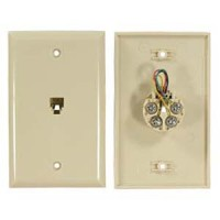 RJ11 Modular Single Port Wall Plate Ivory, Smooth Face