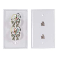RJ11 Modular Dual Port Wall Plate White, Smooth Face