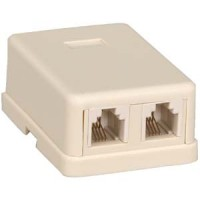 RJ11 Modular Dual Port Surface Mount Jack White