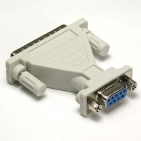 DB9-F/DB25-M Serial Adapter, Thumbscrew(DB25)/Nut(DB9)