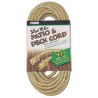 35Ft 16/3 Beige Patio and Deck Extension Cord