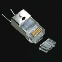 RJ45 Cat.6 Shielded Plug Solid 50Micron 1.5mm dia 3 Prong w/Inserter 10pk