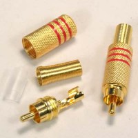 RCA Plug Metal Gold Plated w/Spring Red