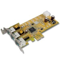 3-Port 12V Powered USB Low-Profile PCI Express Card
