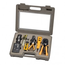 InstallerParts 10 Piece Network Install Tool Kit - Includes LAN Tester, RJ45 RJ11 Crimper, 66 110 Punch Down, Stripper, Knife, Screwdriver, and Case