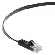 10 Ft Cat 6 Flat Patch Cable Black -- Professional Series -- 50 Micron Gold Plated RJ45 Connectors -- Ethernet Data Network